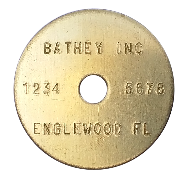"1 1/2"" Brass Tag - Stamped Straight Text 1/32"" Thick"