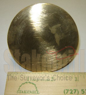 2-1/2 Inch Brass Survey Marker Flat Top 20-702 - Click Image to Close