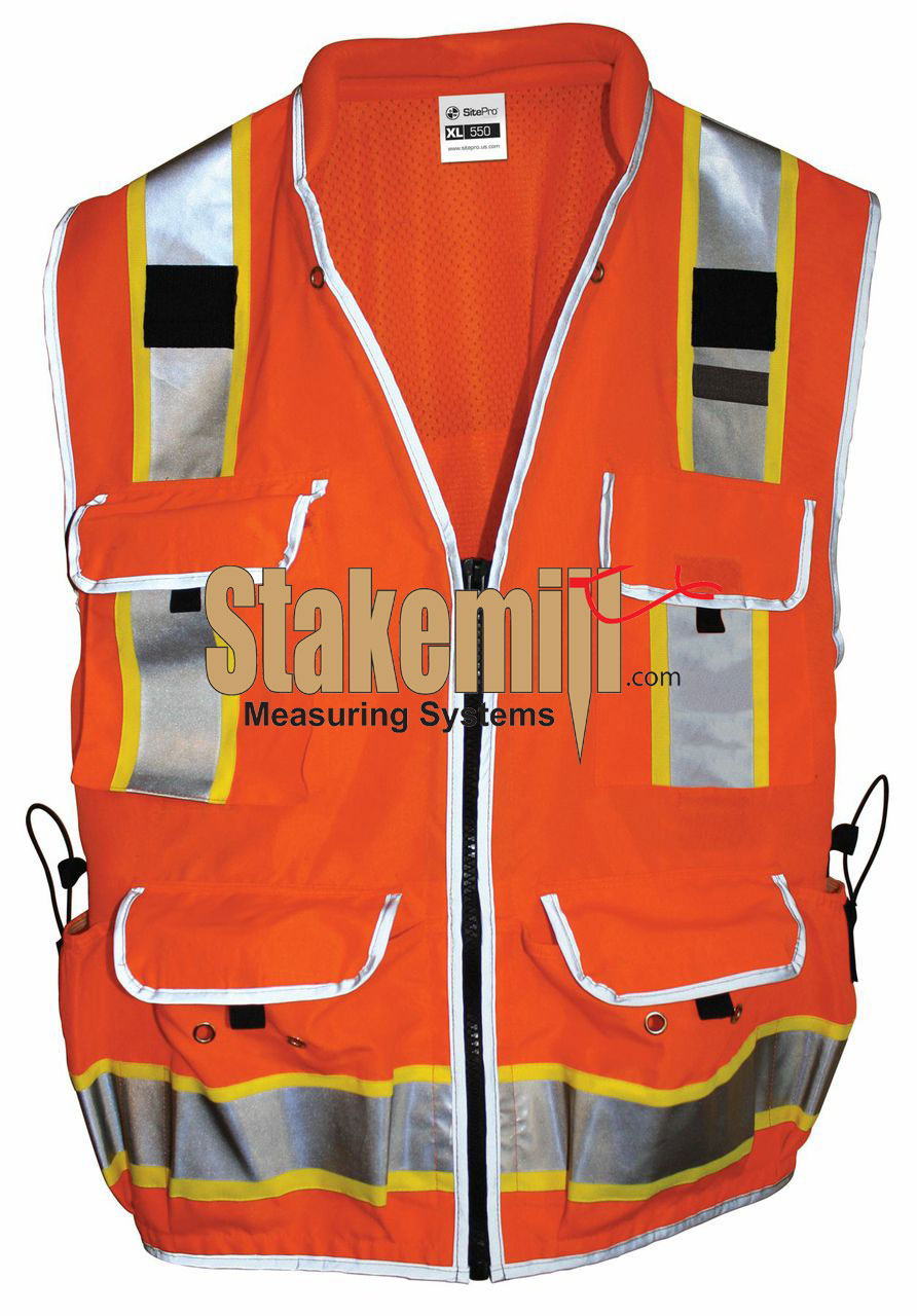 Site Pro 550 SURVEYORS SAFETY VEST ORANGE Large