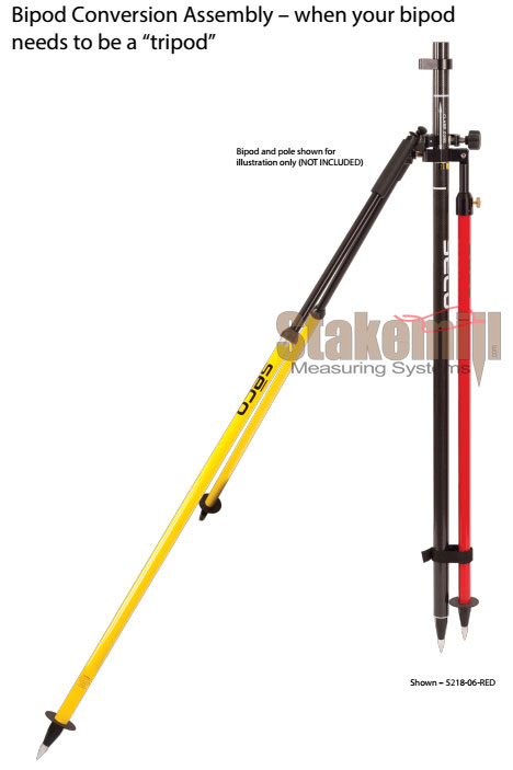 Bipod to Tripod Conversion Assembly - Single Leg Fluor Yellow