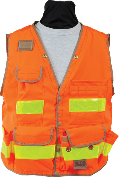 SECO 8069 Series Survey Vest Class 2 Fluorescent Orange