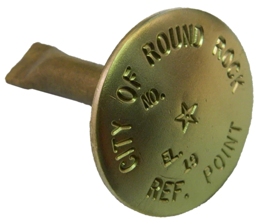 "Brass Stamped 2-1/4"" Dome Marker with 1/2"" x 2.9"" Stem"