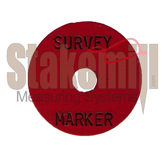 Survey Marker - Pre Stamped 1-1/4 inch 1/4 inch hole Red washer