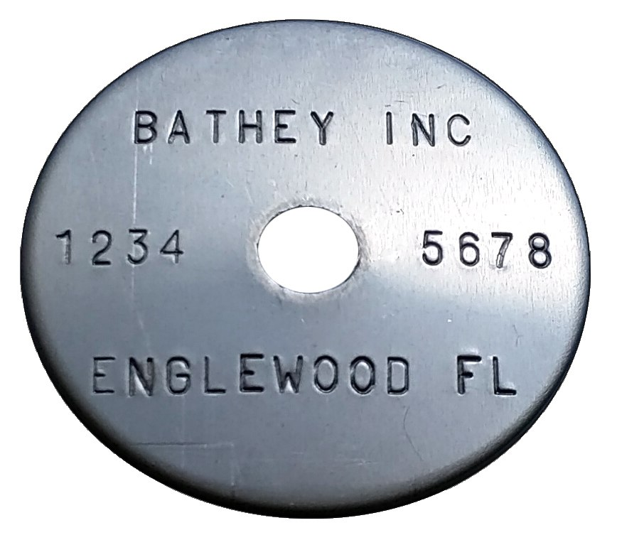 "1 1/2"" Stainless Steel Tag - Stamped Straight Text 1/32"" Thick"