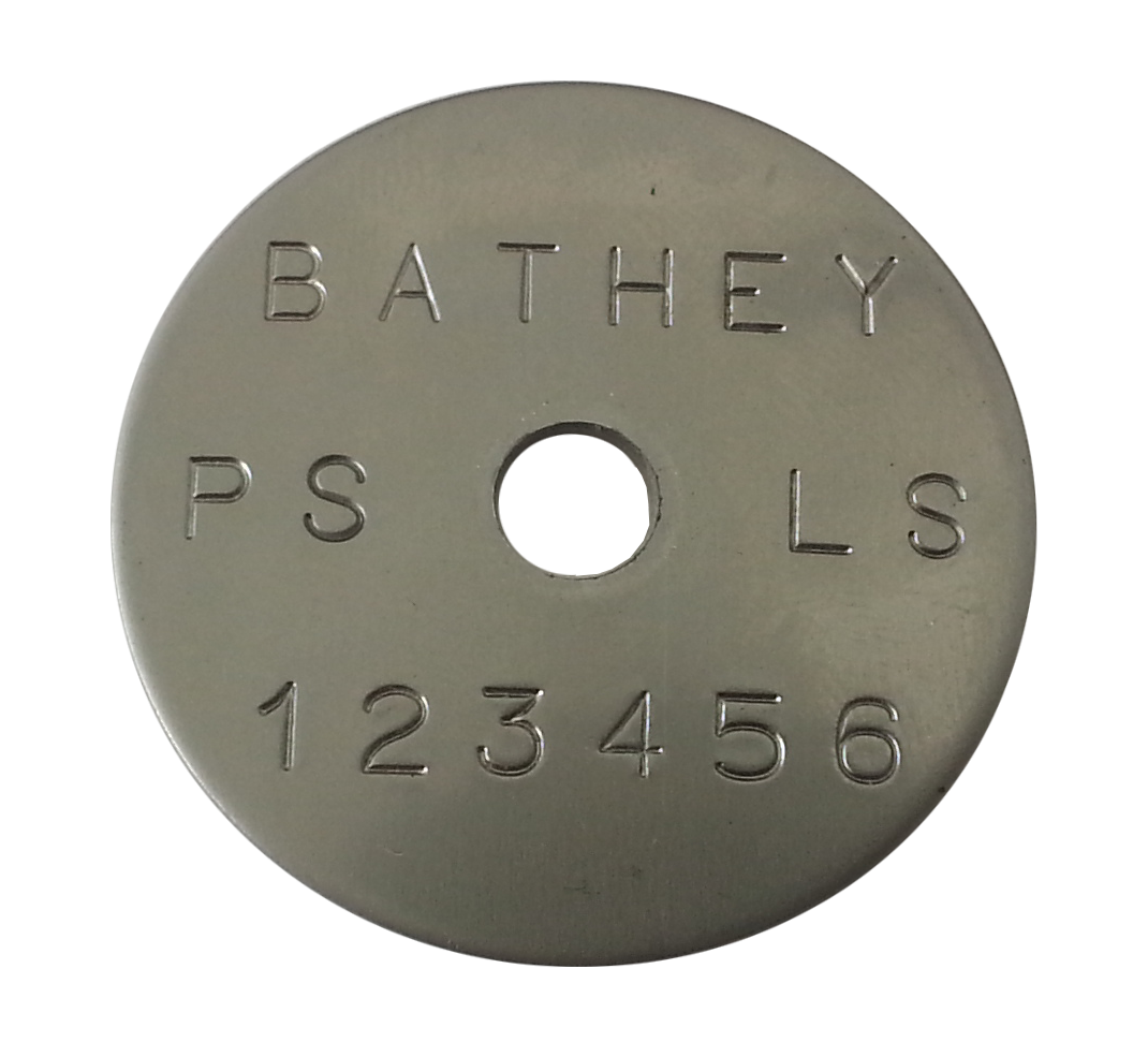 "1 1/4"" Stainless Steel Tag - Stamped Straight Text 1/32"" Thick"
