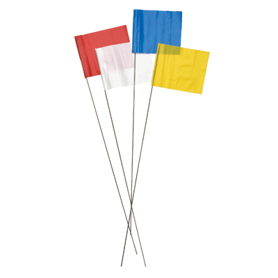SECO 21 Inch Stake Flags 2 x 3 Inch (100 pcs) White