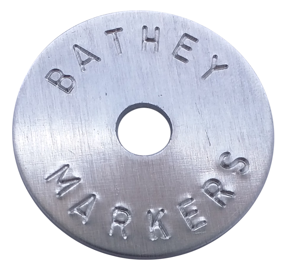 "1 1/4"" Aluminum Disc - Stamped Arc Text 1/16"" Thick"