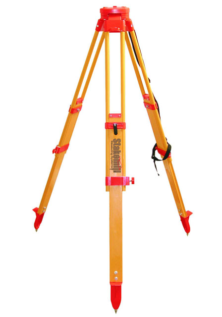 SECO HD Wood Tripod Dual Locks Round Head Orange Hardware