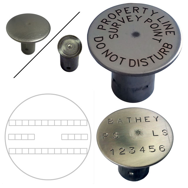 "Stainless Steel 1/2"" Rebar Cap - 1 1/2"" Top - Straight Text"