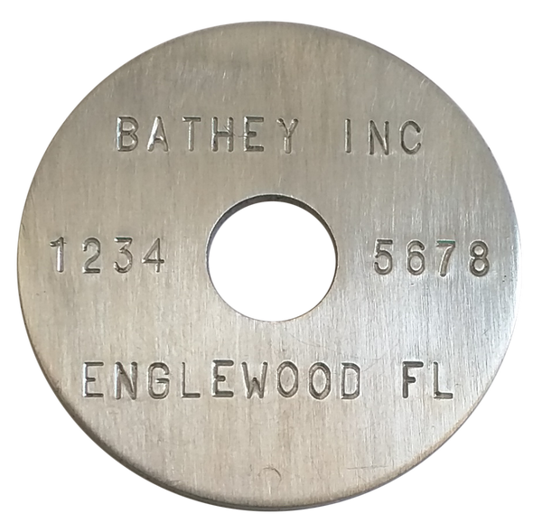 "1 1/2"" Aluminum Disc - Stamped Straight Text 1/16"" Thick"