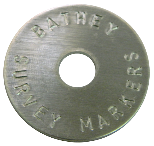 "1 1/2"" Aluminum Disc - Stamped Arc Text 1/16"" Thick"