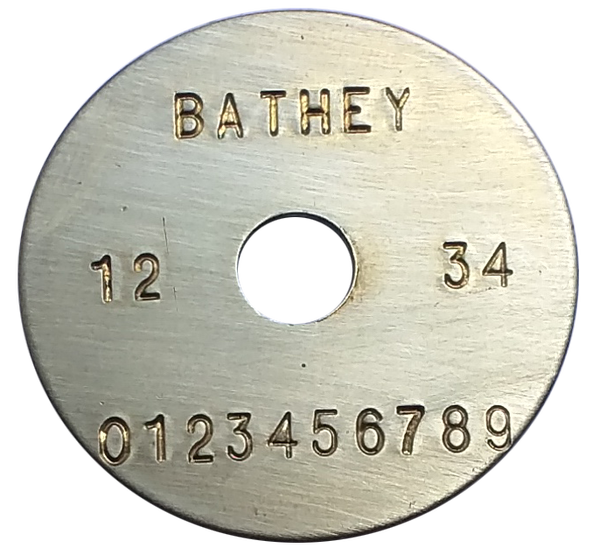 "1 1/4"" Brass Tag - Stamped Straight Text 1/32"" Thick"