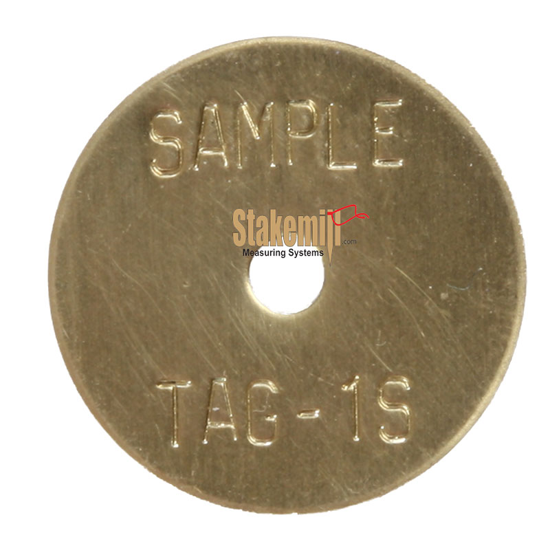 Brass 1 Inch Economy Stamped Washer Disc Straight Text