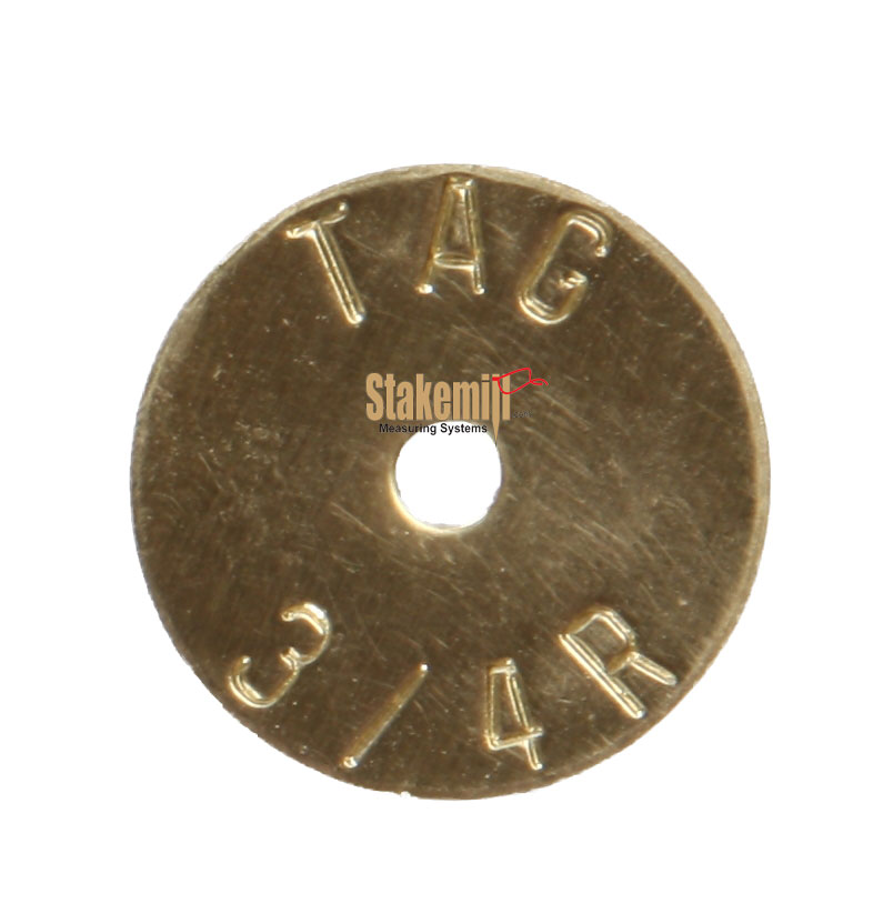 Brass 3/4 Inch Economy Stamped Washer Disc Straight Text